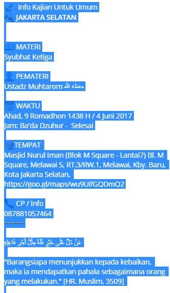 4 copy jadwal kajian dari whatsapp